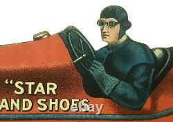 1900s RARE STAR BRAND SHOES TIN LITHOGRAPH DIE CUT RACE CAR ADVERTISING TOY SIGN
