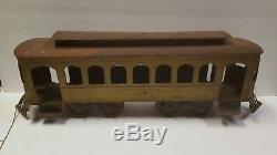 1914 HUGE Schieble CORCOR TROLLEY STREET CAR Tin Train Original Hill Climber Toy