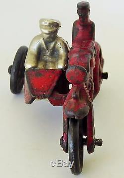 1920's Original Hubley Cop Cast Iron Motorcycle/side Car/orig Passenger 4