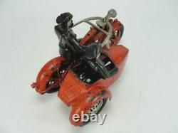 1920's HUBLEY CAST IRON LARGE POLICE INDIAN MOTORCYCLE With SIDE CAR TOY ORIGINAL