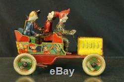 1920's Hans Eberl Comical Clown Ta-ra-ra-bumm German Tin Wind Up Car Original