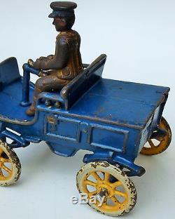 1920's KENTON RARE! CAST IRON TOY CAR WITH DRIVER 5 1/2 LARGE SPOKE WHEELS