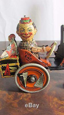 1920's Louis Marx Whoopee Tin Litho Wind Up Crazy Car Yale Purdue Toy Works NICE