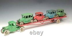 1930 ALL ORIGINAL 24.5 inch ARCADE CAR CARRIER with 4 FORDS Beautiful Cast Iron
