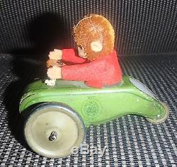1930's 40's Schuco Monkey On A Trike 3 Wheel Metal Friction Car