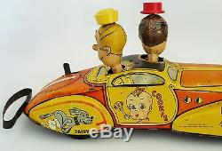 1930's Marx Blondie's Jalopy Tin Litho Wind Up Toy Car Fwd/reverse 16 1/4 Large