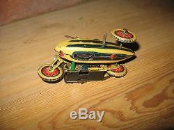 1930 SFA MILITARY MOTORCYCLE SIDE CAR motorrad tin clockwork toy tinplate FRANCE