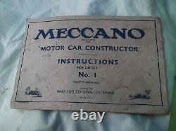1930 rare complete meccano no1 constructor car with box and instructions