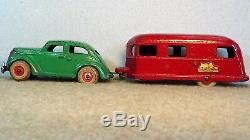 1930's Arcade Cast Iron Coupe Car+The Covered Wagon camping Trailer