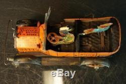 1930's Louis Marx Amos N Andy Fresh Air Tin Wind Up Taxi Cab Car Jalopy Toy