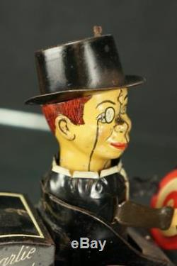 1930's Marx Charlie Mccarthy Carzy Dipsy Car Tin Wind Up Comic Character Toy
