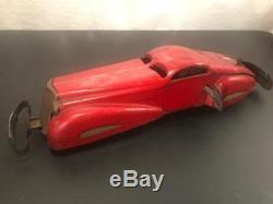 1930's Marx Large 16 Tin Windup Toy Reversible Coupe Streamline Deco Car
