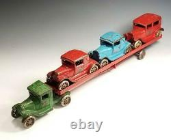 1931 Arcade Cast Iron MODEL A FORD COUPES with RUMBLE SEAT and SEDAN CAR CARRIER