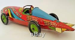 1935 MARX ROCKET RACER WithDRIVER TIN LITHOGRAPHED WIND UP TOY CAR 16 1/2 LARGE