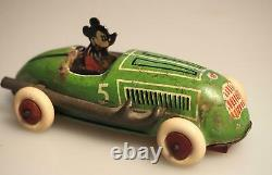 1936 Lindstrom Mickey Mouse Walt Disney Race Car J. Schneider Co. Tin Wind up