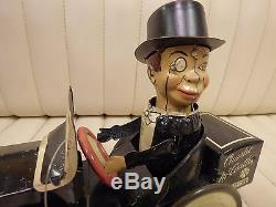 1938 MARX Charlie McCarthy / Benzine Buggy Tin Lithographed Wind Up Car with Box
