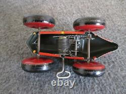 1940-50s MARX WIND-UP RACE CAR TIN LITHO BOAT TAIL # 3 WITH DRIVER TOY CAR WORKS