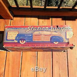 1940 Wyandotte Woody Station Wagon Car Pressed Steel Tin Toy Town with Box Vintage