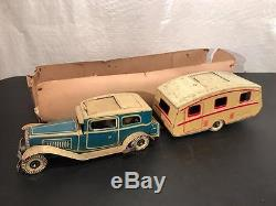 1940's Mettoy Tin Windup Toy Car Coupe pulling Travel Camping Trailer