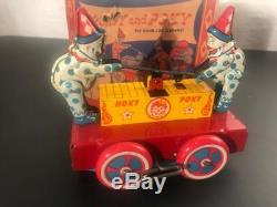 1940's Wyandotte Tin Windup Toy Hoky Poky Circus Clown Hand Car & Original Box