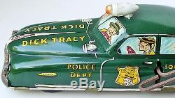 1949 MARX DICK TRACY SQUAD CAR No. 1 TIN LITHOGRAPHED WIND UP TOY 11 1/4 LARGE