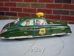 1950 Marx Tin Windup/Battery Op Dick Tracy Siren Squad Car in Orig Box. A++. NR