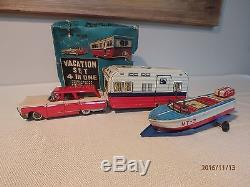 1950'S MODERN TOYS JAPAN TIN VACATION SET, HOUSE TRAILER, BOAT, CAR ETC. With BOX
