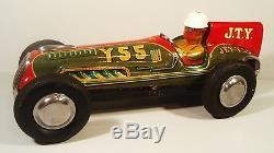1950's Tin Friction J. T. Y. 55 Racer Race Car W Driver Hadson Yonezawa Japan