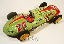 1950's Tin Friction Universe Racer Race Car Mercedes Benz Driver Yonezawa Japan