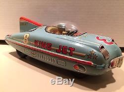 1950's Friction Tin Litho King Jet Racer Yonezawa (Japan) TKK Japan Space Car C9