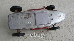 1950's JNF Mercedes Silver Arrow W 196 Battery Op 13 in tin toy race car driver