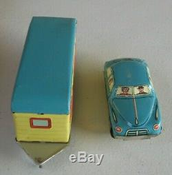1950's Japan Car with House Trailer Tin Litho Store Display of 12 MIB Store Stock
