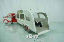 1950S MARX PRESSED STEEL AUTO TRANSPORT SEMI CAR HAULER With ORIG CARS & BOX +++