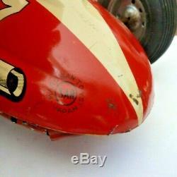 1950s vintage Marusan Japanese tin friction litho race car V8 special #27