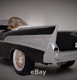 1957 Chevy Pedal Car Fire Vintage BelAir Hot Rod Sport Midget Metal Model Black