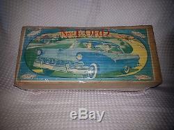 1957 Yonezawa Japan-15.5 NEW FORD TIN CAR-2 TONE-NMIB-Original Box-Ships World