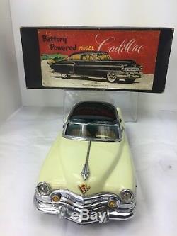 1958 Tin Litho Marusan Cadillac Battery Operated Tin Toy Car Original Box Japan