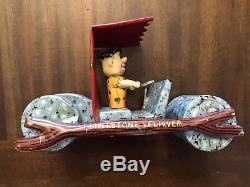 1960 RED TOP Vintage Marx Tin Toy Flintstone Flivver Toy Car Fliver Pedal Rare