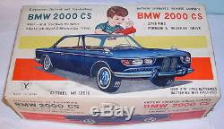 1960's Japan BMW 2000cs tin plate battery operated toy car boxed Yonezawa