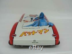1960's SANYO JAPAN BATMAN BATMOBILE CAR TIN FRICTION SUPERHERO COMIC TOY With BOX