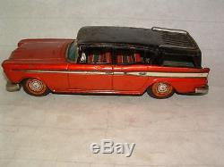 1960's Tin Litho Bandai Rambler Station Wagon Friction Toy Car Automobile