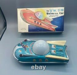 1960s-70s Battery Operated Universe Car Tin Litho Space Toy with Batteries