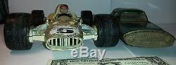 2 VINTAGE car Green futuristic GORGO ASTRO FORD GYRON TIN TOY Argentina + racing