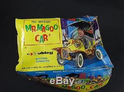 2 Vintage 1961 Hubley Mr Magoo Japan Tin Litho Battery Friction Car Toy Box Lot
