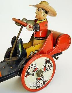 30's Louis Marx Whoopee Cowboy Car Tin Lithographed Wind Up Toy 7 1/4 Large