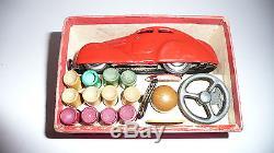 ANTIQUE TIN CAR SCHUCO 3000 PREWAR 1930's & ORIGINAL BOX & KEY MADE IN GERMANY