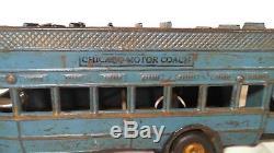 ANTIQUE VINTAGE ARCADE METAL DOUBLE-DECKER BUS CHICAGO MOTOR COACH TOY CAR 1920s
