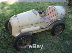 antique vintage toy metal racer grand prix pedal car race car roadster triang. Black Bedroom Furniture Sets. Home Design Ideas