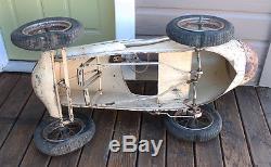 ANTIQUE VINTAGE Toy Metal Racer Grand Prix Pedal Car Race Car Roadster Triang