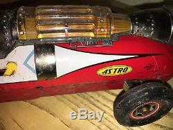 ASTRO CAR TIN SPACE ROCKET B. O. ROBOT VINTAGE 50's DAIYA Made in JAPAN WORKING